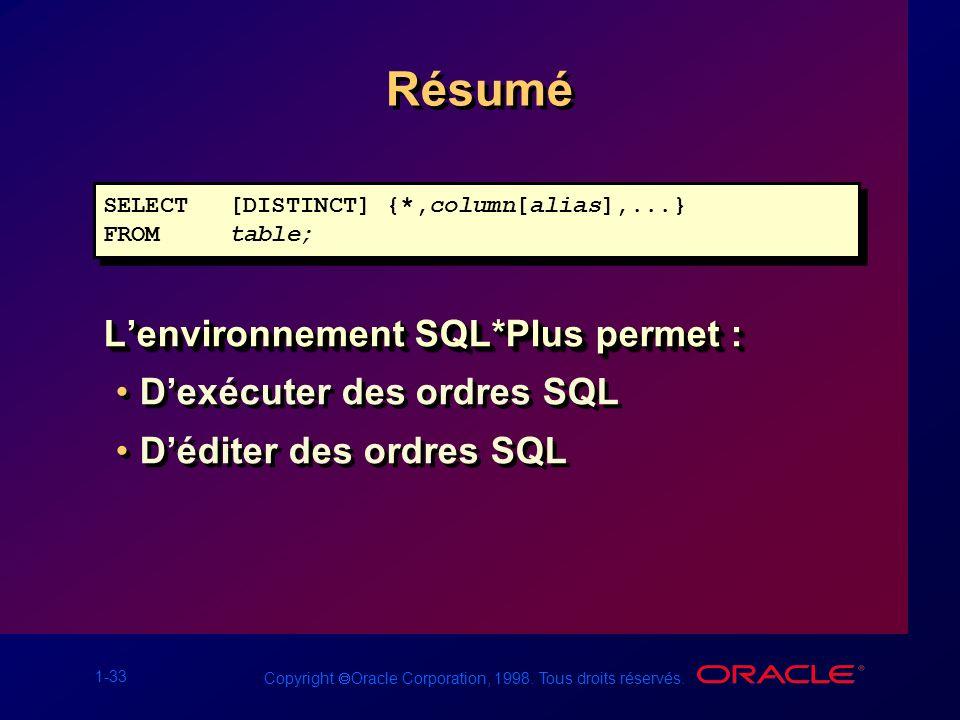 Résumé L'environnement SQL*Plus permet : D'exécuter des ordres SQL