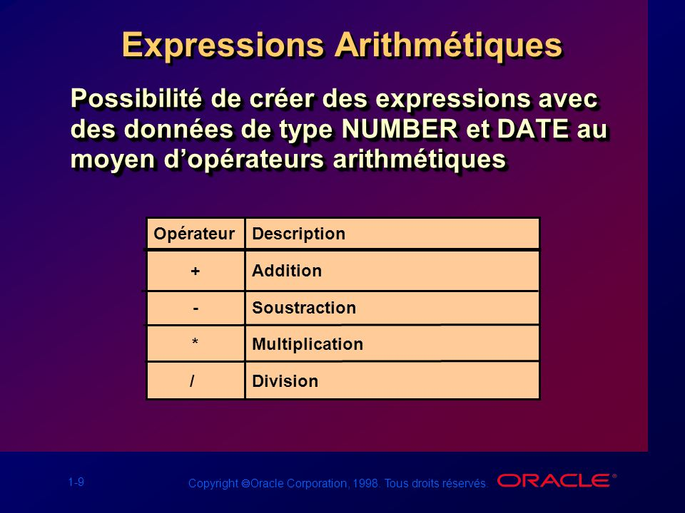 Expressions Arithmétiques