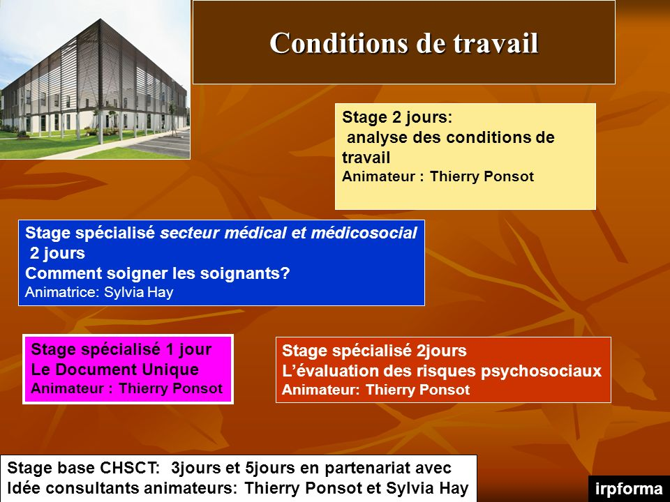 Conditions de travail Stage 2 jours: analyse des conditions de travail