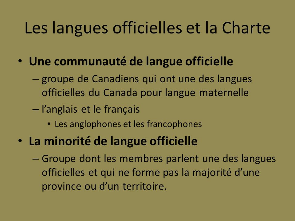 Les langues officielles et la Charte