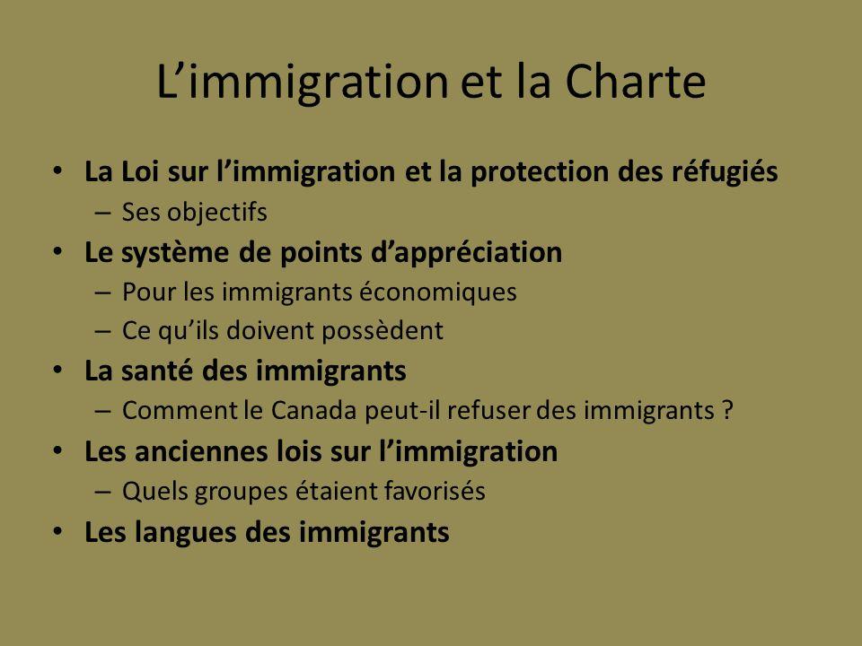 L'immigration et la Charte