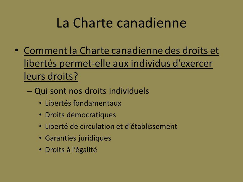 La Charte canadienne Comment la Charte canadienne des droits et libertés permet-elle aux individus d'exercer leurs droits