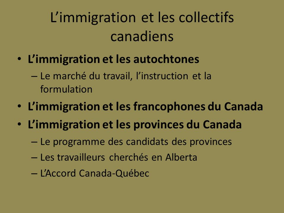 L'immigration et les collectifs canadiens