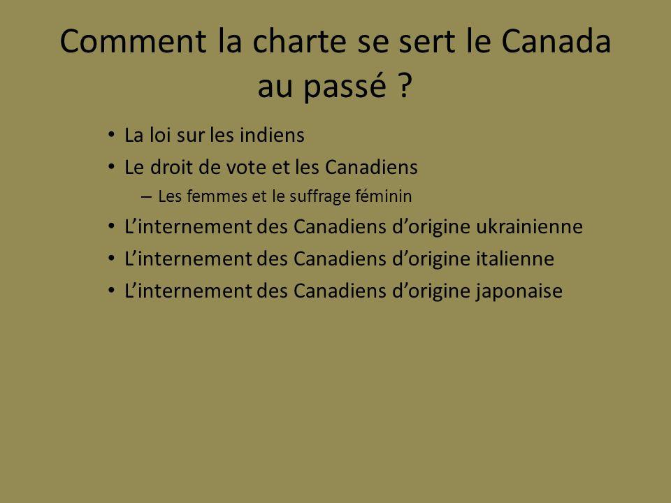 Comment la charte se sert le Canada au passé