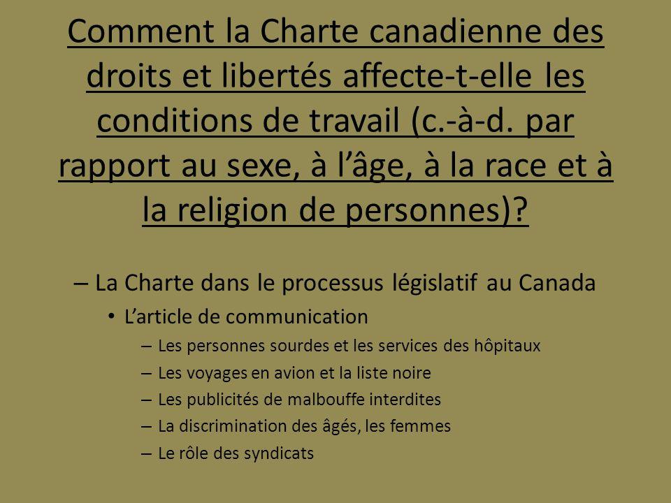 Comment la Charte canadienne des droits et libertés affecte-t-elle les conditions de travail (c.-à-d. par rapport au sexe, à l'âge, à la race et à la religion de personnes)