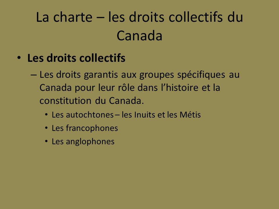 La charte – les droits collectifs du Canada
