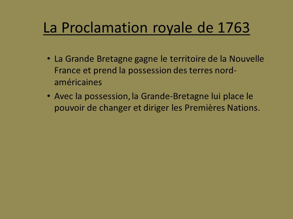 La Proclamation royale de 1763