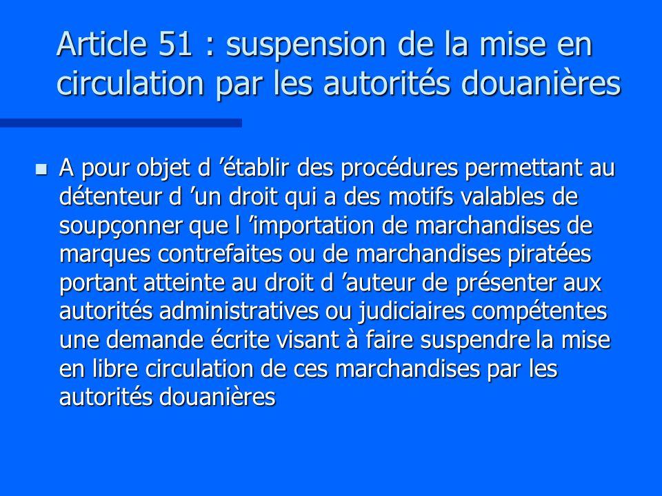Article 51 : suspension de la mise en circulation par les autorités douanières