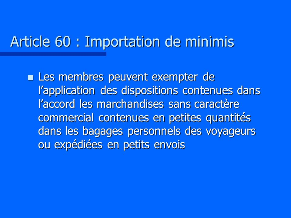 Article 60 : Importation de minimis