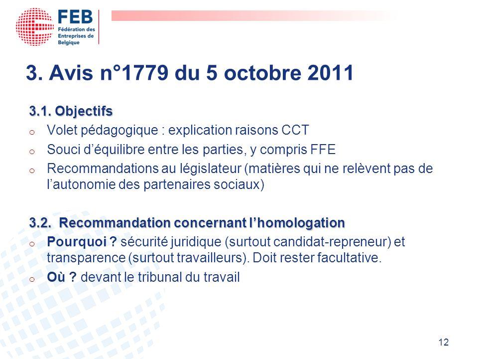 3. Avis n°1779 du 5 octobre 2011 3.1. Objectifs