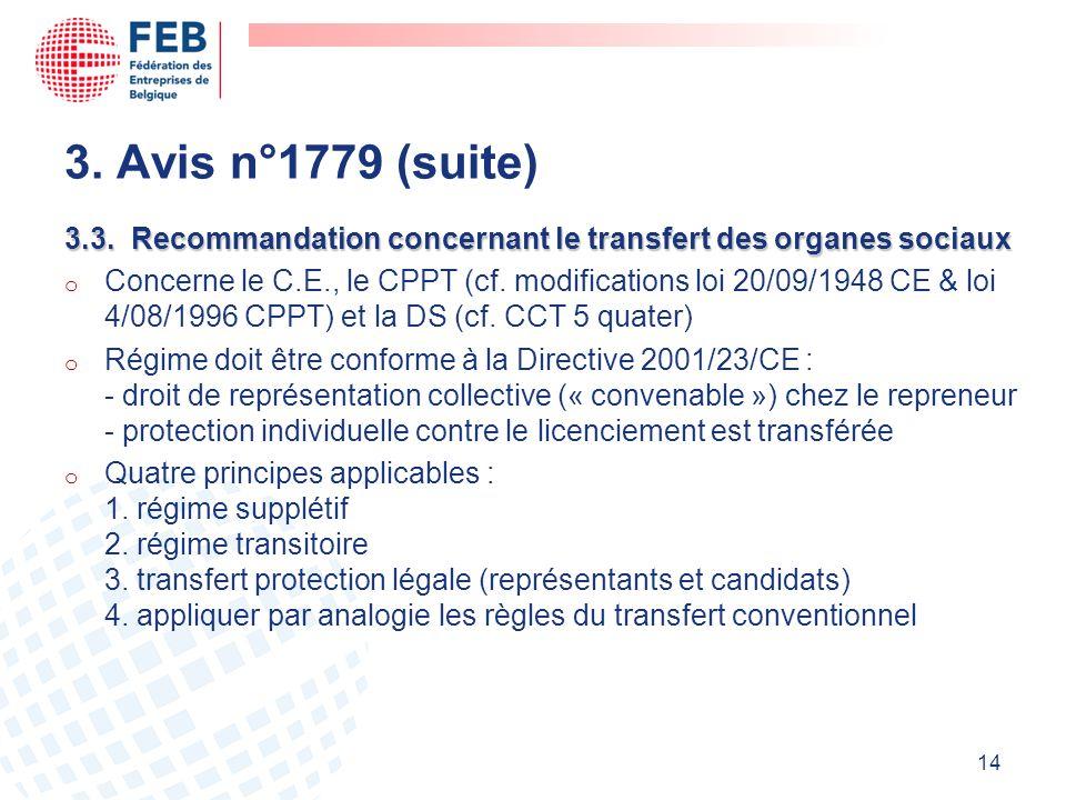3. Avis n°1779 (suite) 3.3. Recommandation concernant le transfert des organes sociaux.