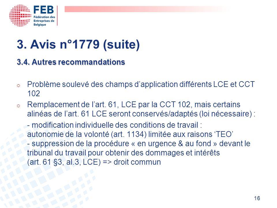 3. Avis n°1779 (suite) 3.4. Autres recommandations