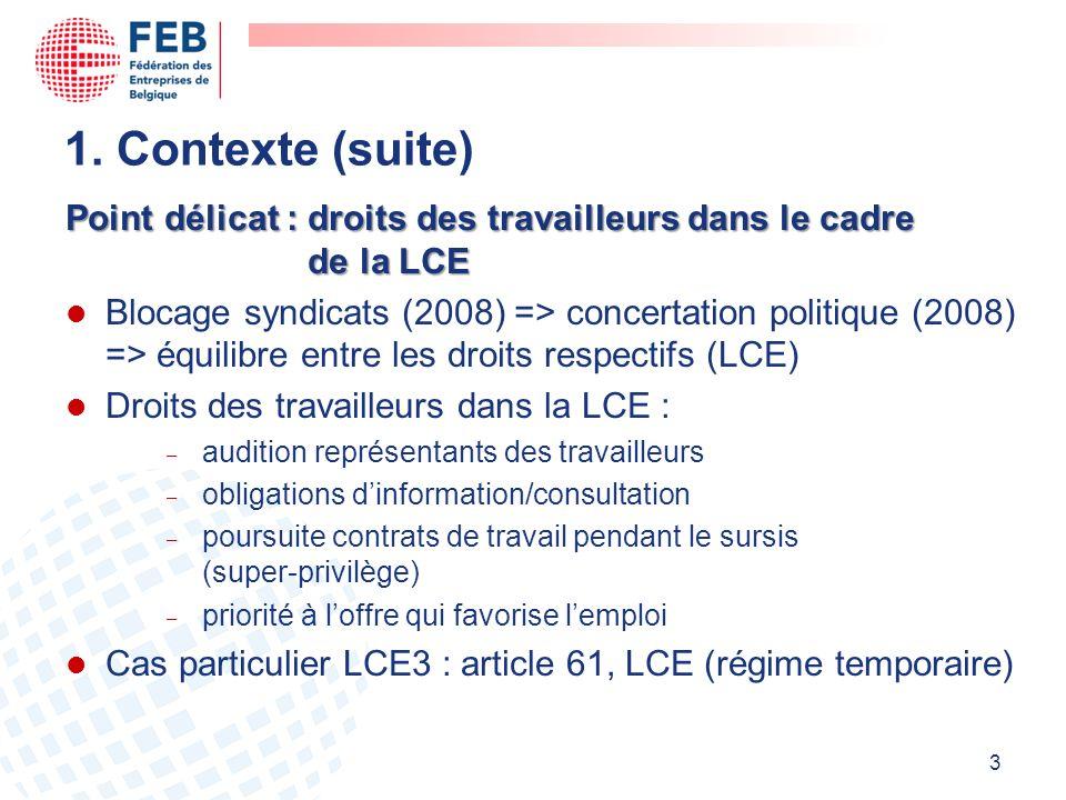 1. Contexte (suite) Point délicat : droits des travailleurs dans le cadre de la LCE.