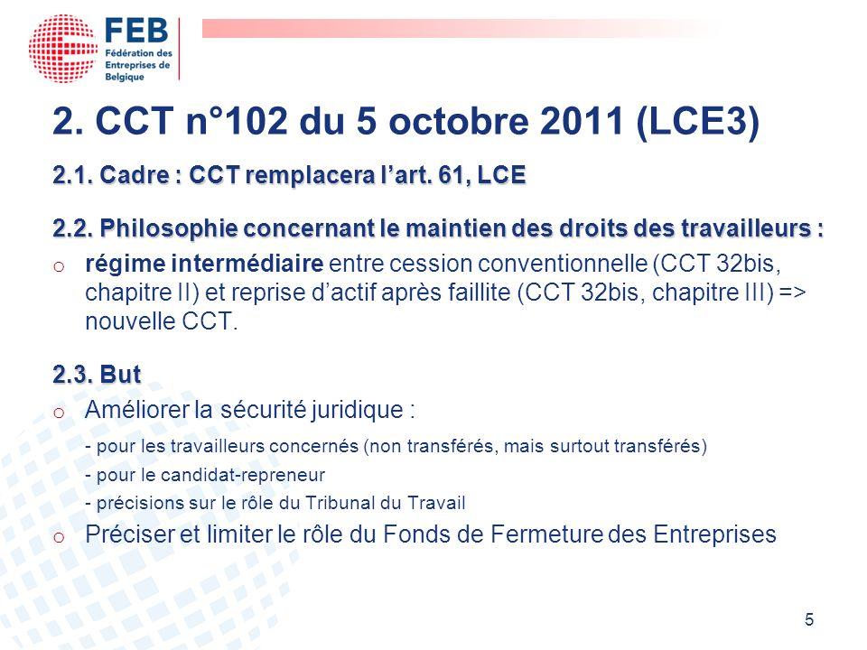 2. CCT n°102 du 5 octobre 2011 (LCE3) 2.1. Cadre : CCT remplacera l'art. 61, LCE.