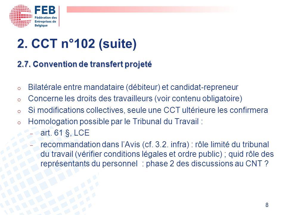 2. CCT n°102 (suite) 2.7. Convention de transfert projeté