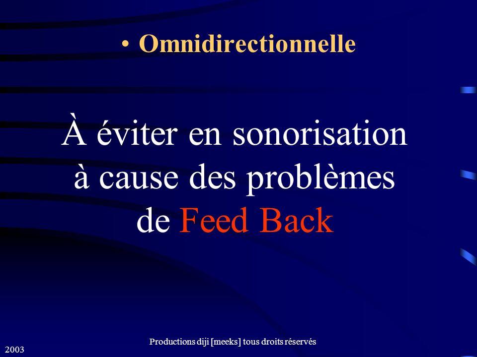 À éviter en sonorisation à cause des problèmes de Feed Back