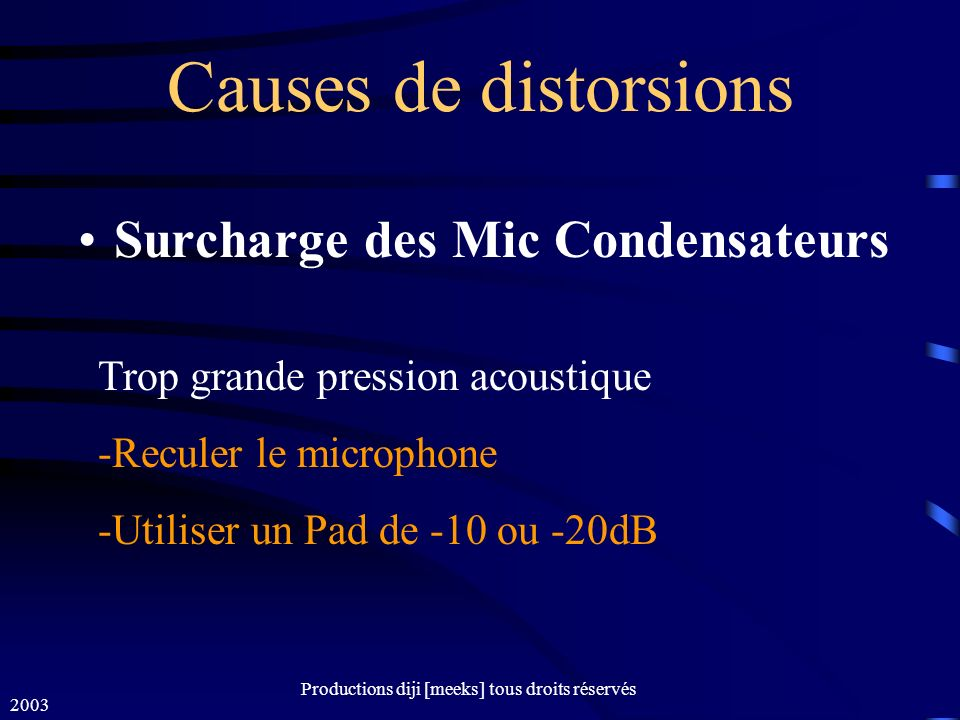Surcharge des Mic Condensateurs