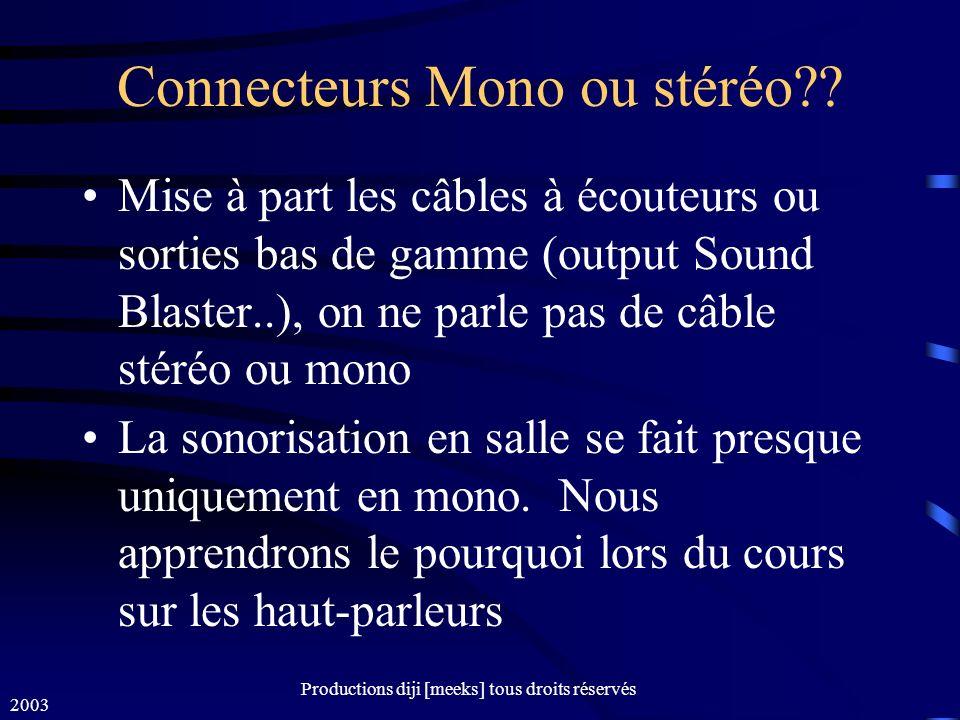 Connecteurs Mono ou stéréo