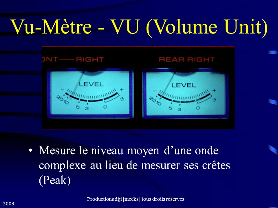 Vu-Mètre - VU (Volume Unit)