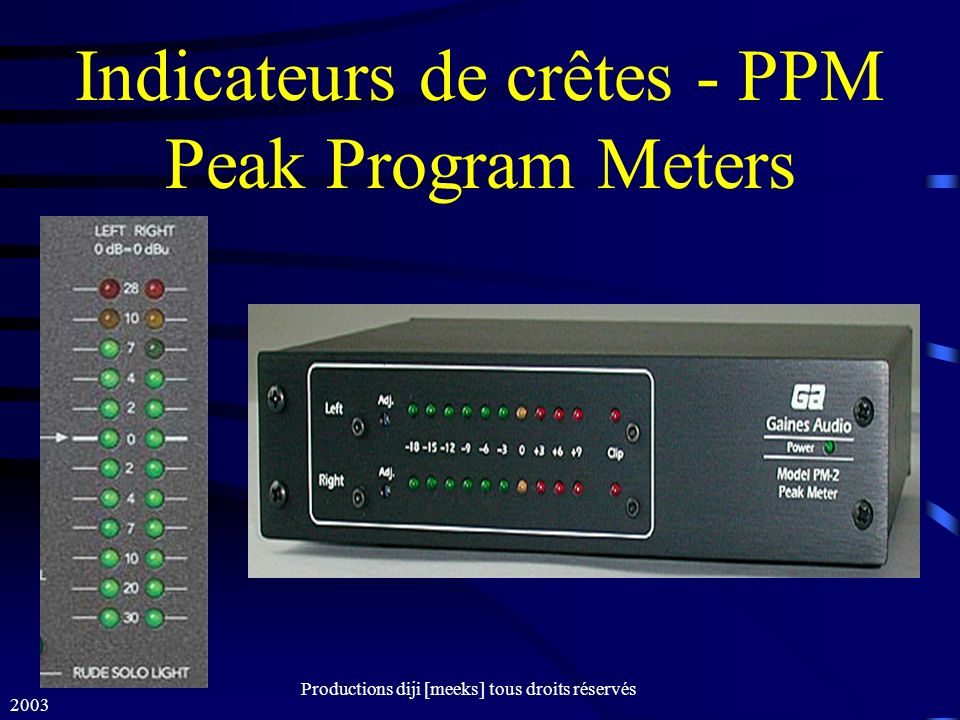 Indicateurs de crêtes - PPM Peak Program Meters