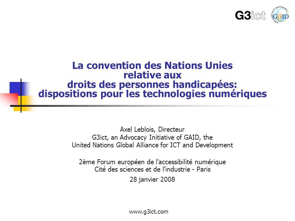 La convention des Nations Unies relative aux droits des personnes handicapées: dispositions pour les technologies numériques
