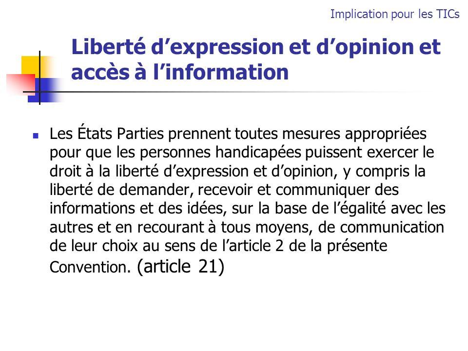 Liberté d'expression et d'opinion et accès à l'information