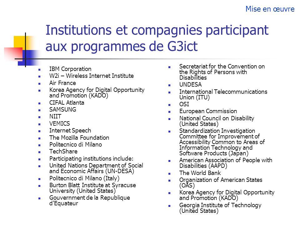 Institutions et compagnies participant aux programmes de G3ict