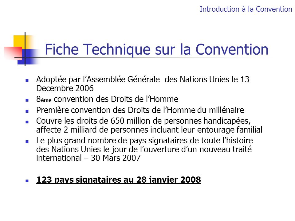 Fiche Technique sur la Convention