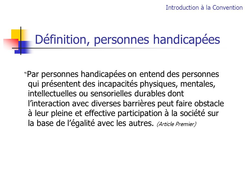 Définition, personnes handicapées
