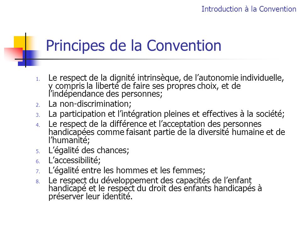 Principes de la Convention