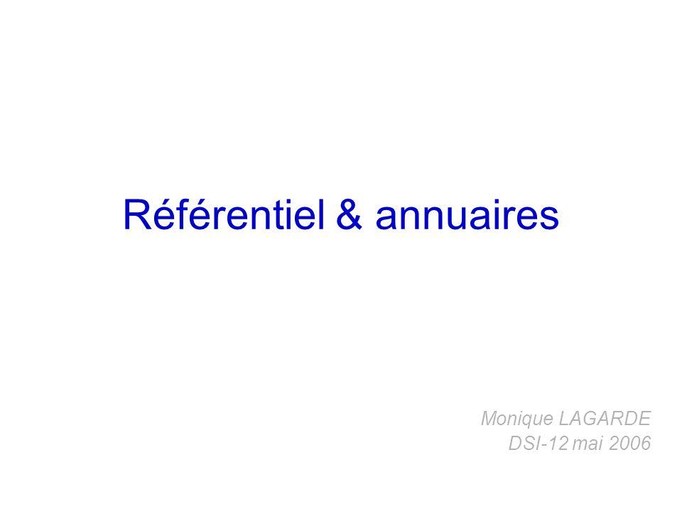 Référentiel & annuaires