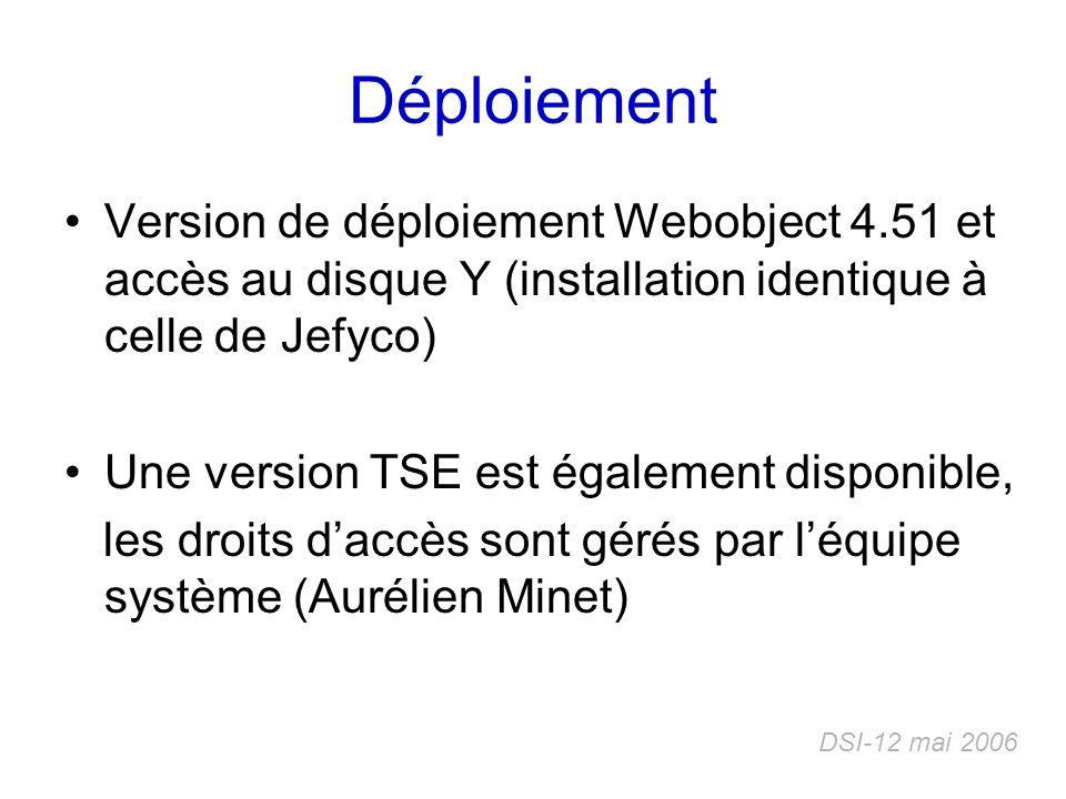 Déploiement Version de déploiement Webobject 4.51 et accès au disque Y (installation identique à celle de Jefyco)