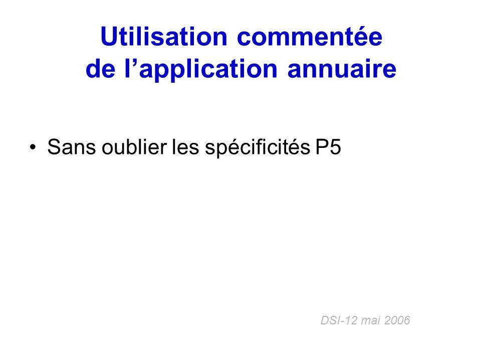 Utilisation commentée de l'application annuaire