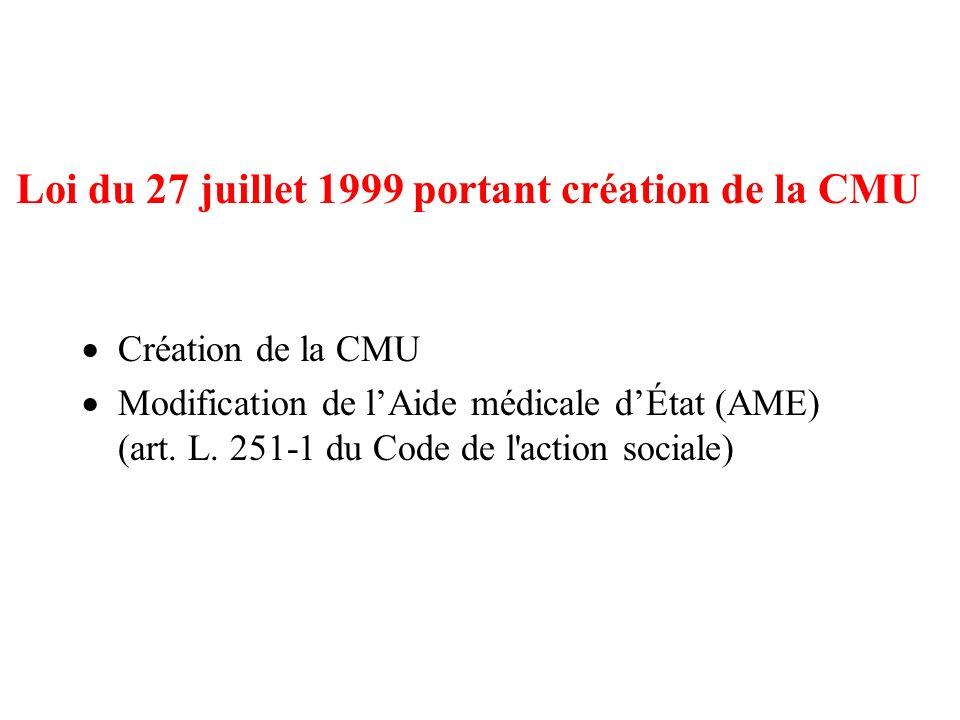 Loi du 27 juillet 1999 portant création de la CMU
