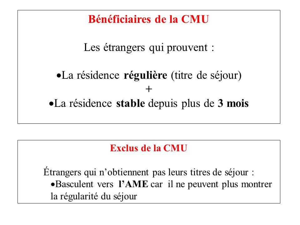 Bénéficiaires de la CMU Les étrangers qui prouvent :
