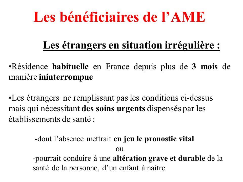Les bénéficiaires de l'AME Les étrangers en situation irrégulière :