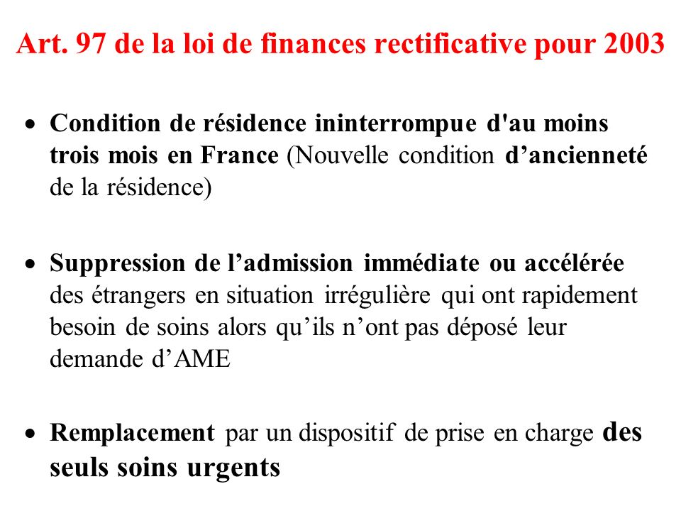 Art. 97 de la loi de finances rectificative pour 2003