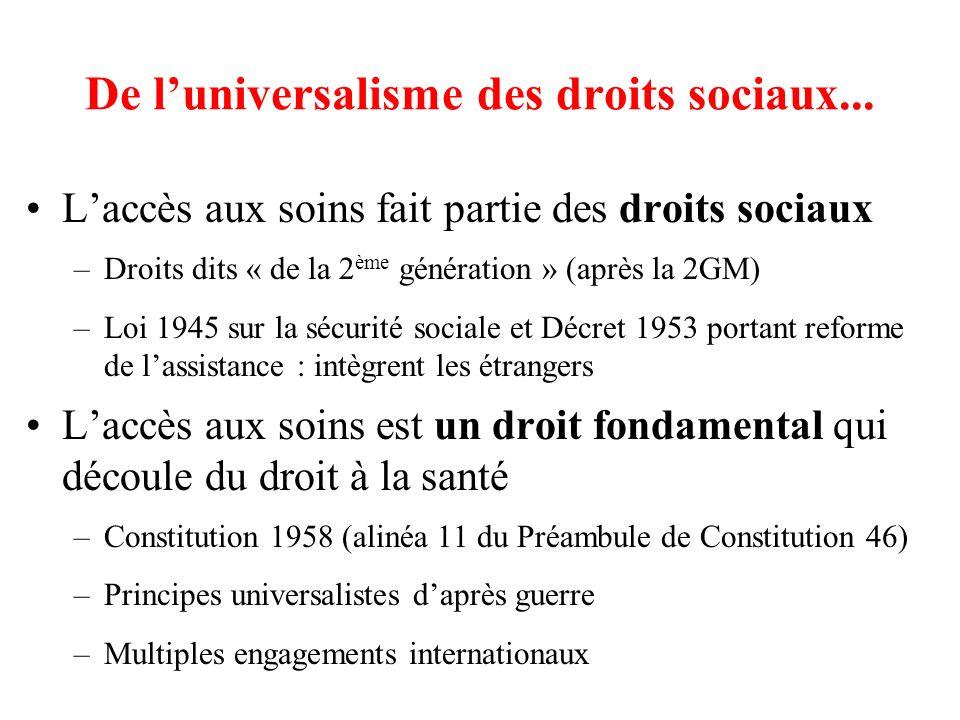 De l'universalisme des droits sociaux...