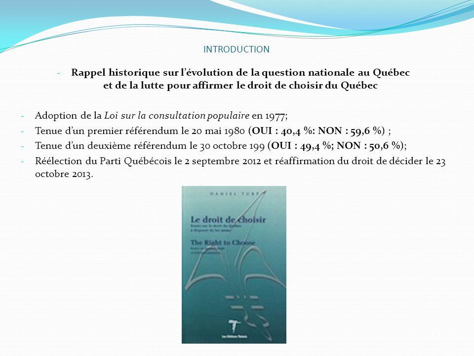 INTRODUCTION Rappel historique sur l'évolution de la question nationale au Québec et de la lutte pour affirmer le droit de choisir du Québec.