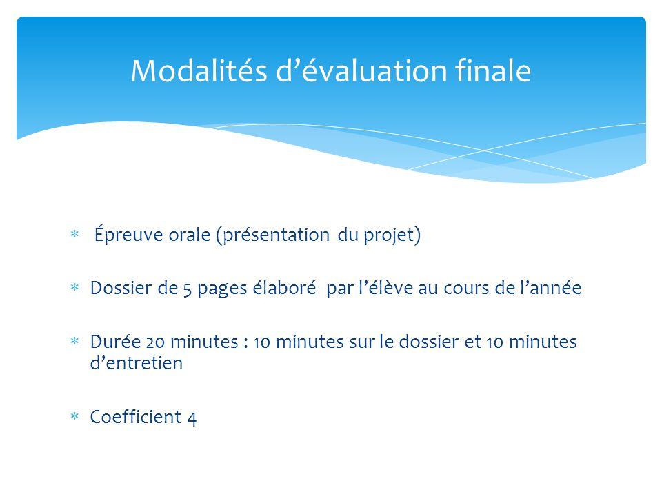 Modalités d'évaluation finale