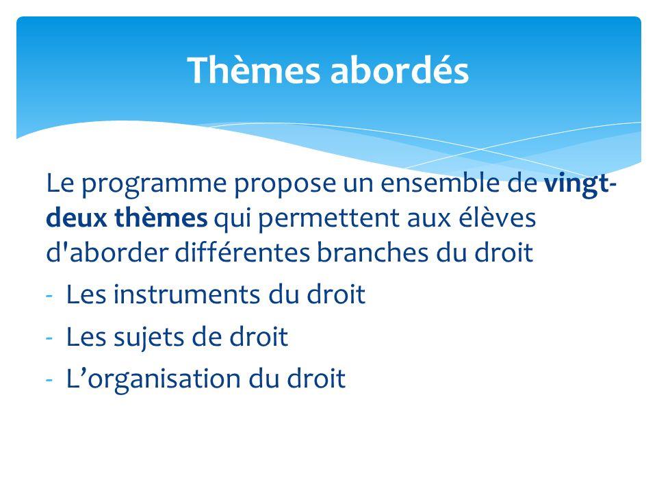 Thèmes abordés Le programme propose un ensemble de vingt-deux thèmes qui permettent aux élèves d aborder différentes branches du droit.