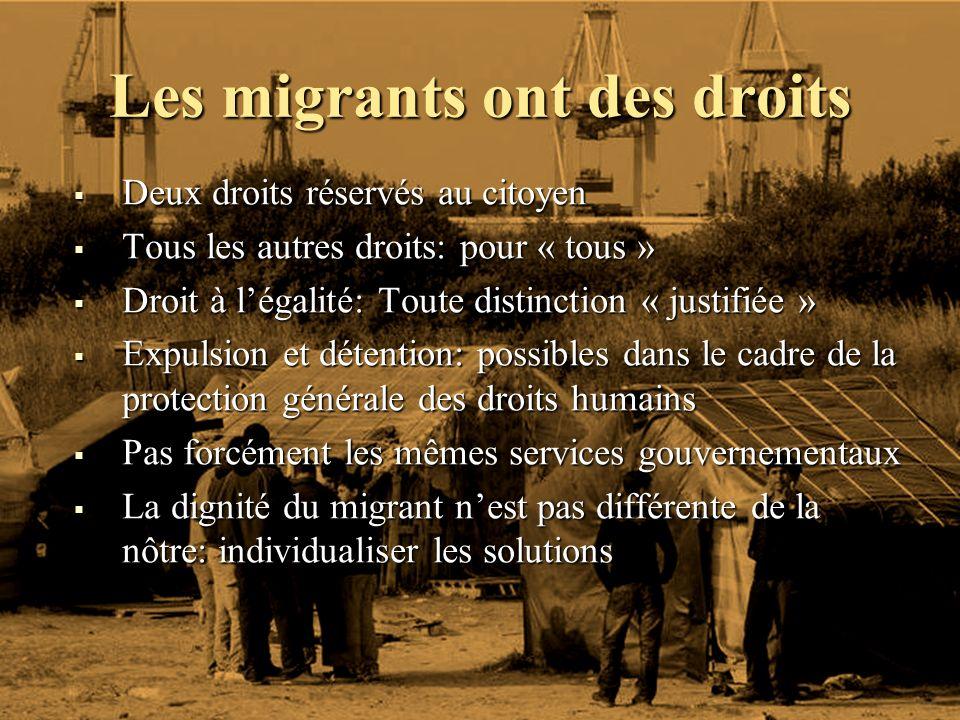 Les migrants ont des droits