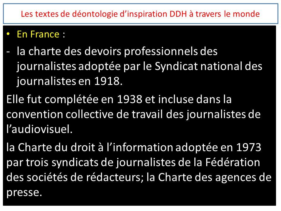 Les textes de déontologie d'inspiration DDH à travers le monde