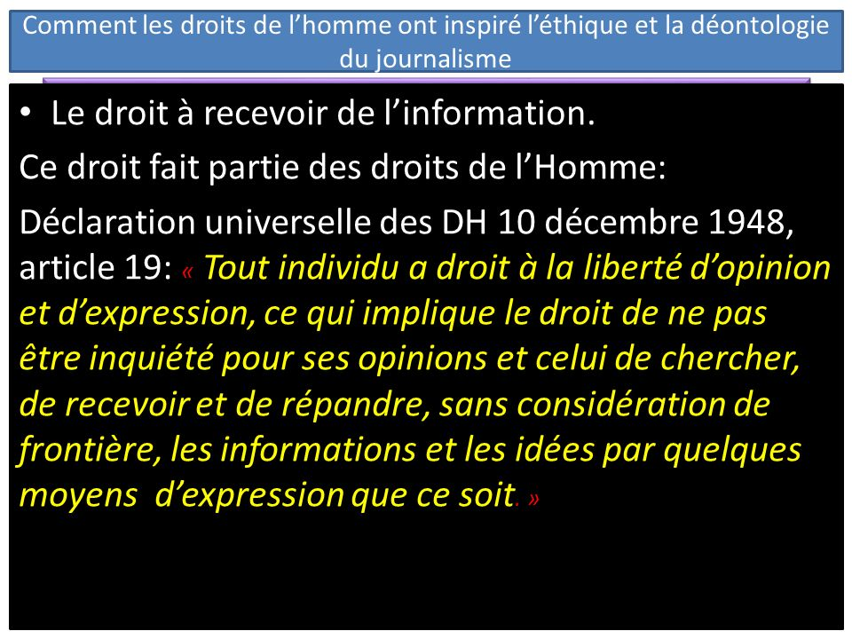 Le droit à recevoir de l'information