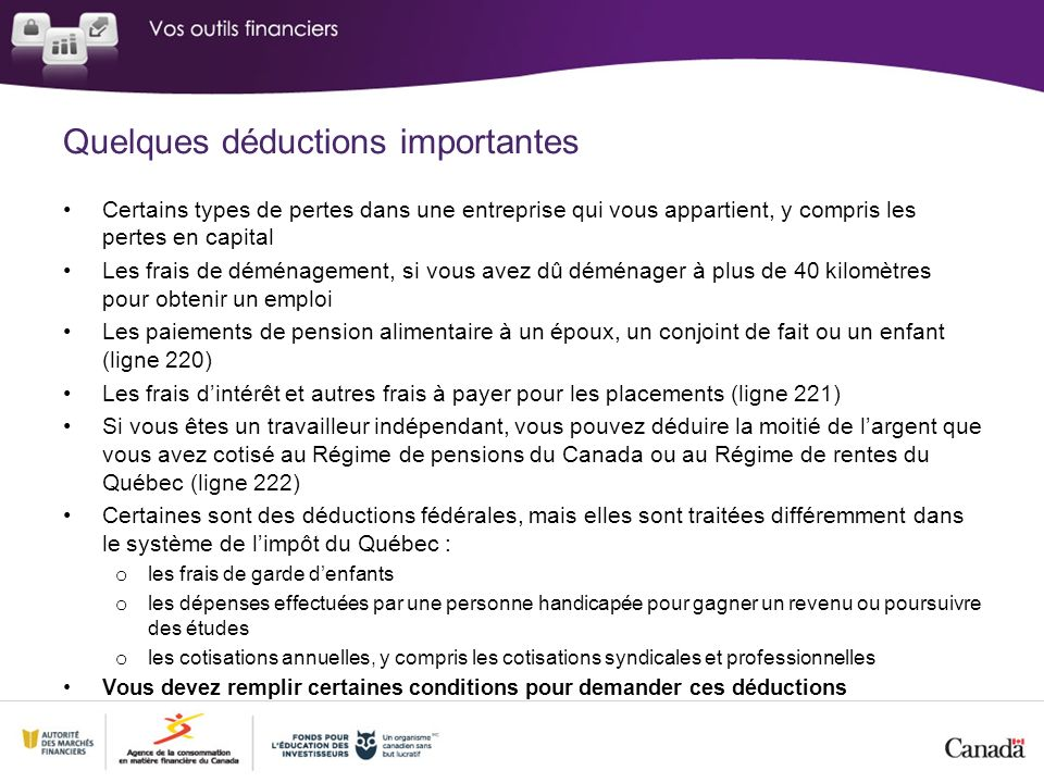 Quelques déductions importantes