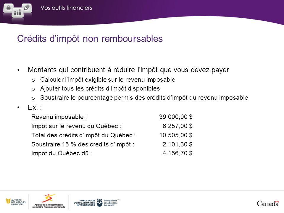 Crédits d'impôt non remboursables