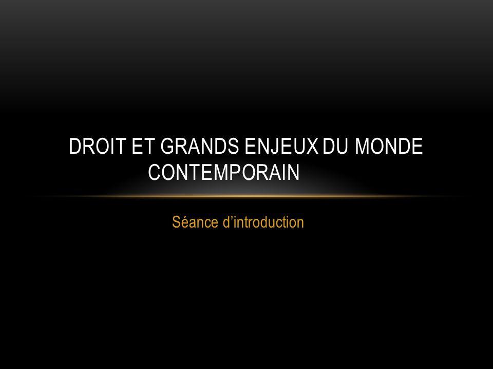 DROIT ET GRANDS ENJEUX DU MONDE CONTEMPORAIN