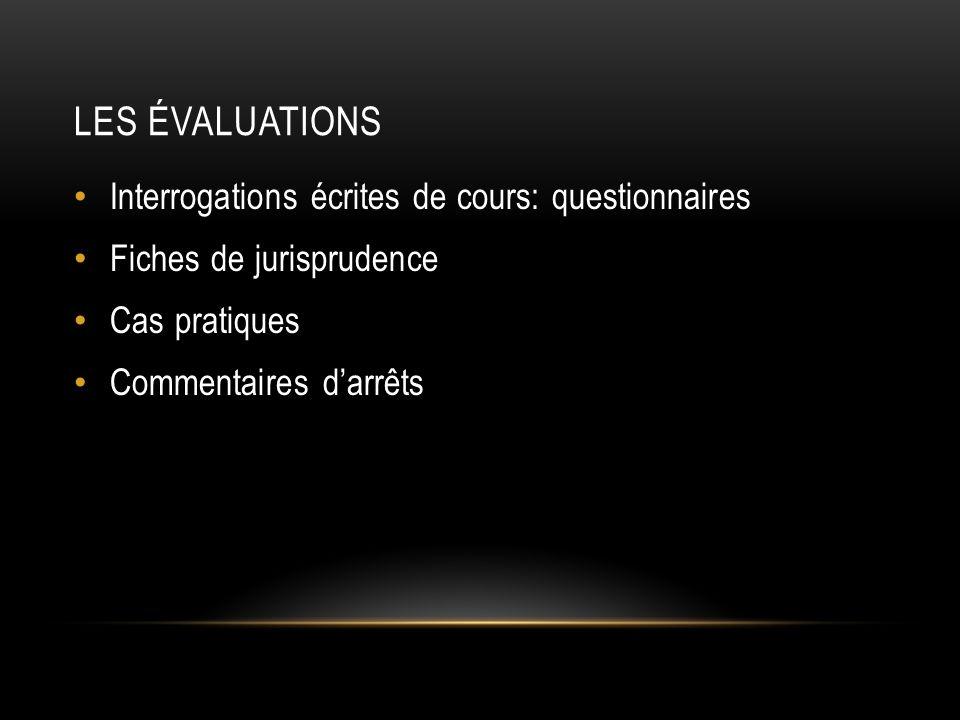 Les évaluations Interrogations écrites de cours: questionnaires