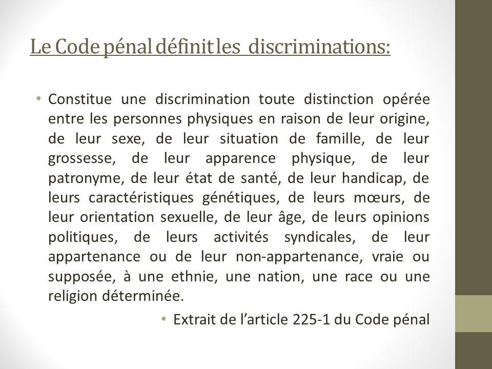 Le Code pénal définit les discriminations: