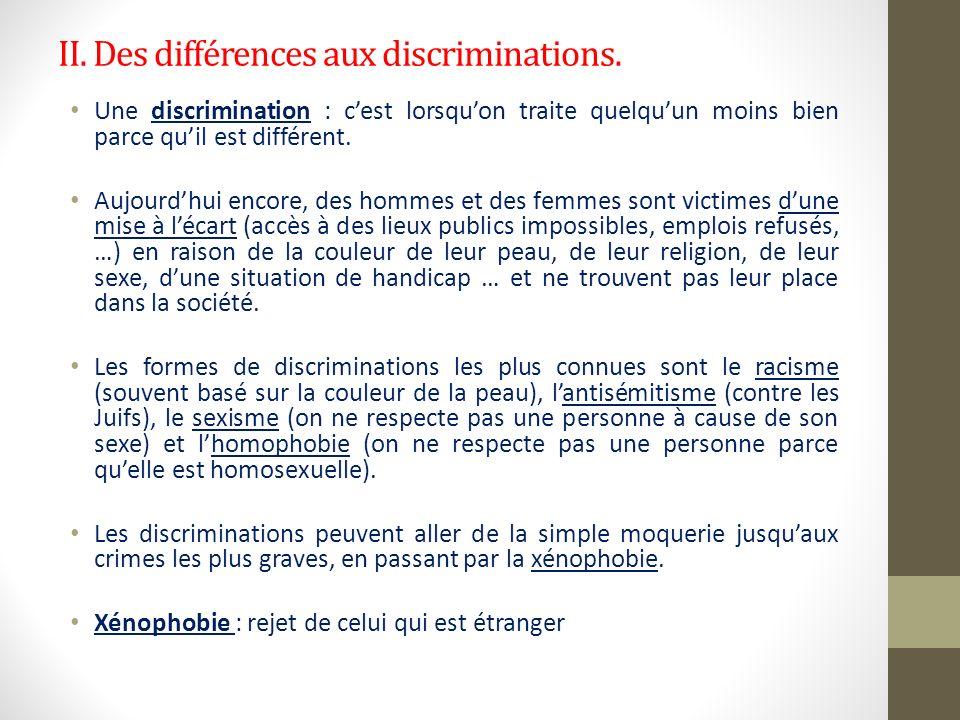 II. Des différences aux discriminations.